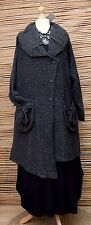 LAGENLOOK*KEKOO*BEAUTIFUL ASYMMETRICAL 2 POCKETS JACKET/COAT*BLACK*SIZE 46-48