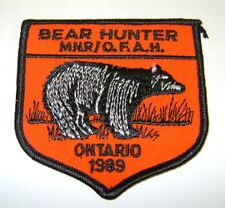 1989  RARE MNR,ONTARIO, BEAR  Hunting Patch,Crest, [deer,bear,moose,elk]