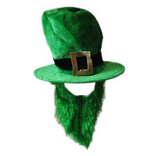 Irish Leprechaun Funny St Patrick Large Green Adult Costume Top Hat & Beard