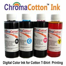 4 COLOR BULK  ChromaCotton INK REFILL FOR EPSON No-Oem FOR COTTON T-SHIRT