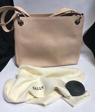 Authentic BALLY ITALY Tan Embossed Leather Tote Shoulder Bag Purse Vintage