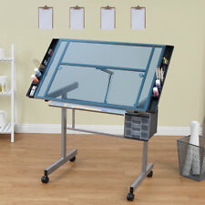 Silver and Blue Glass Rolling Drafting Drawing Mobile Art Craft Table