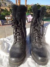 Women's boots black faux fur lace up size 7 above ankle Goth combat biker