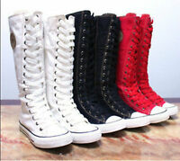 PUNK EMO Gothic Women Girl Shoes Zip Lace Up Rock Boot Canvas Sneaker Knee High