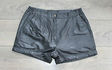 "Vintage Black Leather EPISODE High Waist Front Pleat Hot Pants Shorts Sz W31"" L2"