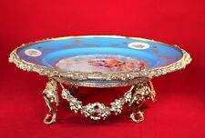 "A.C.F. DE SEVRES FRANCE PORCELAIN CENTERPIECE 14.5"" WITH ORMOLU MOUNTED SIGNED"