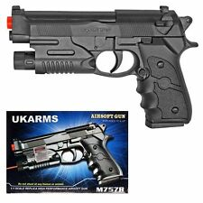 "UK ARMS 6.5"" Black Plastic Airsoft Pistol Hand Gun Laser M757R 160FPS +1000 BBs"