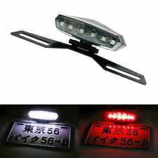 Motorcycle License Plate Mount Holder Bracket w/ LED License Brake Tail Lights