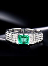 18ct White Gold Stunning Natural Emerald and Diamonds Unisex Ring GBP £5500