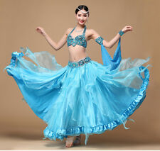 Belly Dance Costume Outfit Set Bra Top Belt Hip Scarf Skirt Dress Hollywood 3PCS