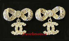 AUTHENTIC CHANEL CC Logo Earrings Gold Crystal Classic Charm Dangle New 2016