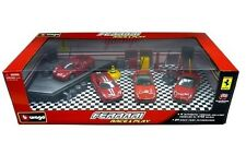 BBURAGO FERRARI RACE & PLAY SET GIFT PACK INCLUDE 4 CARS & ACCESSORIES 18-31214