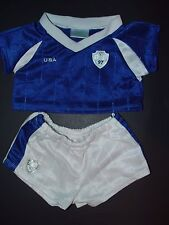 Build a Bear Clothes Clothing Boy  Blue USA Soccer top Matching White shorts