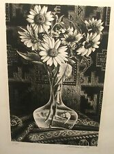 SID FRANCIS FLORAL CRYSTAL VASE LIMITED EDITION HAND SIGNED IN PENCIL LITHOGRAPH