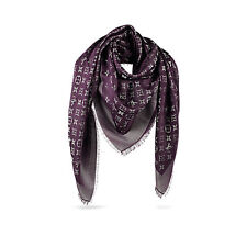 HOT NEW Genuine LOUIS VUITTON Monogram SHINE Purple Silk Wool Shawl Scarf M75124