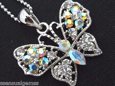 Butterfly Pendant Necklace Woman's Silver Chain AB Crystal Fashion Jewelry New