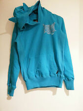 New Emily The Strange Cyan Cat Ears Hoodie Size Small Gothic Lolita Punk