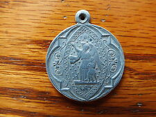 ANTIQUE RELIGIOUS MEDAL ST JOSEPH WITH BABY JESUS,GUARDIAN ANGEL SHOW THE WAY