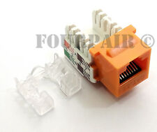 100 Pack Lot - CAT5e RJ45 110 Punch Down Keystone Modular Snap-In Jacks - Orange
