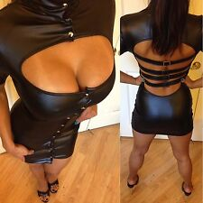Connie's Clubwear Cap Sleeved Faux Leather Black Mini Dress Button Front S