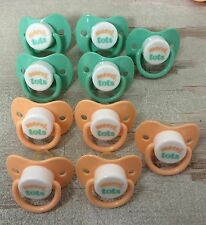 Lot of 10 Baby Pacifiers For Reborn Dolls, Crafts, Baby Shower Games Green Peach