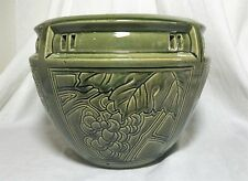 Weller art pottery green majolica glaze grapes pattern jardiniere jardinere