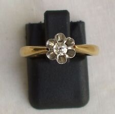 BAGUE ANCIENNE OR JAUNE MASSIF 18K DIAMANT SOLITAIRE TAILLE ANCIENNE .