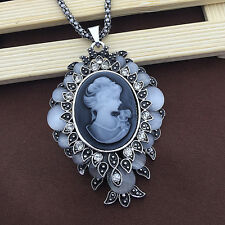 Antique Silver Opal Crystal Grey Lady Cameo Filigree Pendant Victorian Necklace
