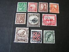 NEW ZEALAND, SCOTT # 185-188(4)+190/191(2)+193-196(4)(10), 1935 PICTORIAL USED