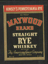 MAYWOOD BRAND STRAIGHT RYE WHISKEY Small ANTIQUE BOTTLE LABEL - UNUSED