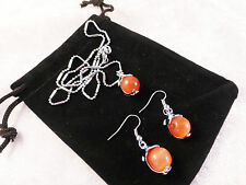 18k White Gold Plated Sun Kissed Orange Opal Dolphin  Necklace & Earrings
