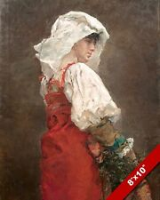 LATE 1800'S ERA ROMAN PEASANT WOMAN IN RED ROME PAINTING ART REAL CANVAS PRINT