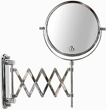 2 Sided Makeup Mirror Wall Arm Shaving Swivel Magnifying Extendable Bathroom 7x