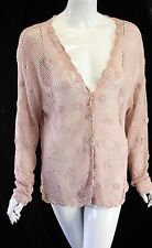 April Cornell Open Knit Cardigan Sweater Clear Buttons L Rose Pink (damaged)