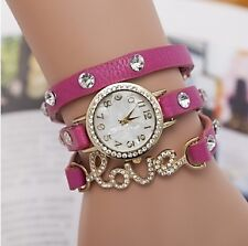LUXURY DESIGN CRYSTAL STUDDED TRENDY LADIES BRACELET WATCH -LOVE BAND PINK