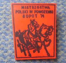 POLAND CHAMPIONSHIP DRIVING CARRIAGE HORSE EQUESTRIAN city SOPOT 1971 RARE PIN