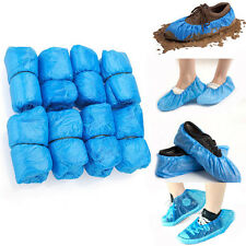 30 Plastic Disposable Shoe Covers Carpet Floor Rain Protector Foot Covering Blue