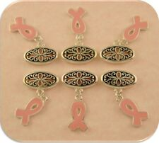 Beads Pink Ribbon Handpainted Charms Silver Filigree Ovals 2 Hole Sliders QTY 6