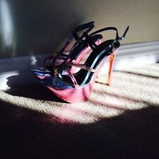 YVES SAINT LAURENT YSL Pink Silver Strappy Sandals Heels Tribute 39 9 8.5