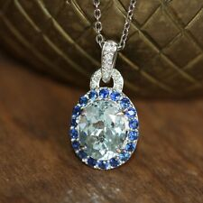 Birthstone Aquamarine Necklace 14k White Gold Halo Sapphire Diamond Pendant