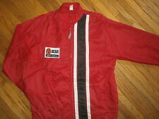 vtg BEAR SAFETY SERVICE NYLON RACING STRIPE JACKET Mod Windbreaker 60s 70s Red S