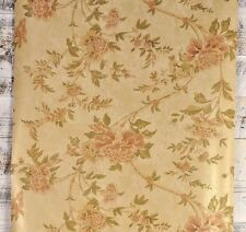 Classic Victorian Floral Gold Tan Green Red Copper Textured Designer Wallpaper