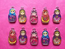 Russian Doll Charms 10 per pack enamel/alloy mixed colours/COLOURS VARY