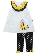 Girls size 4T Bumble Bee Appliqued Top and Polka Dot Leggings By Rare Editions