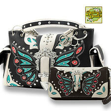 Western Butterfly Rhinestone Buckle Shoulder Side Pocket  Handbag Set -Bk