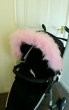 Pram Pushchair Pink faux fur Hood Trim, fits any hood quinny bugaboo stokke.