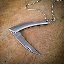 Mini Talon Pocket Knife Necklace Brushed Silver Charm Chain Pendant Steel Blade