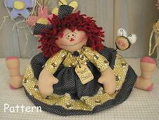 EASY Beginner PATTERN Raggedy Ann Doll Spring Bee Primitive Folk Art Cloth #15