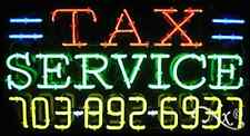 "NEW ""TAX SERVICE"" W/YOUR PHONE NUMBER 37x20 NEON SIGN W/CUSTOM OPTIONS 15110"