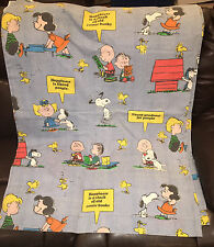 """PEANUTS """"Happiness Is"""" Twin Bed Sheet Snoopy Charlie Brown Vintage VGC Free Ship"""